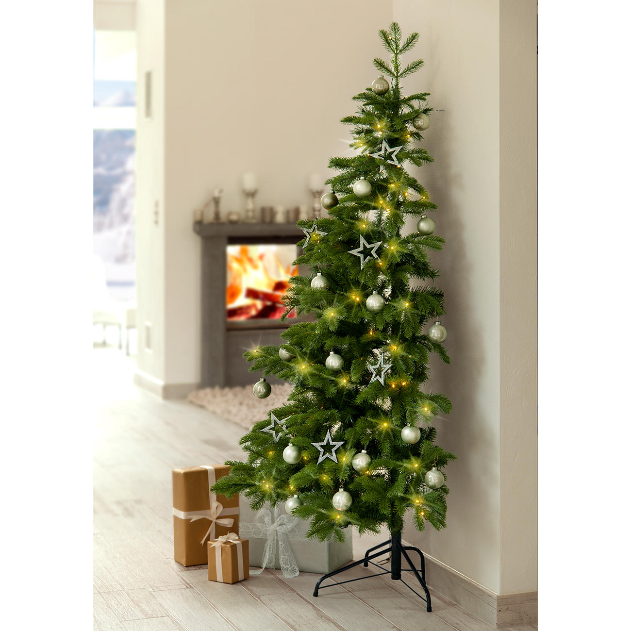 demi christmas tree big beautiful realistic looking in practical half sized design - Half Wall Christmas Tree