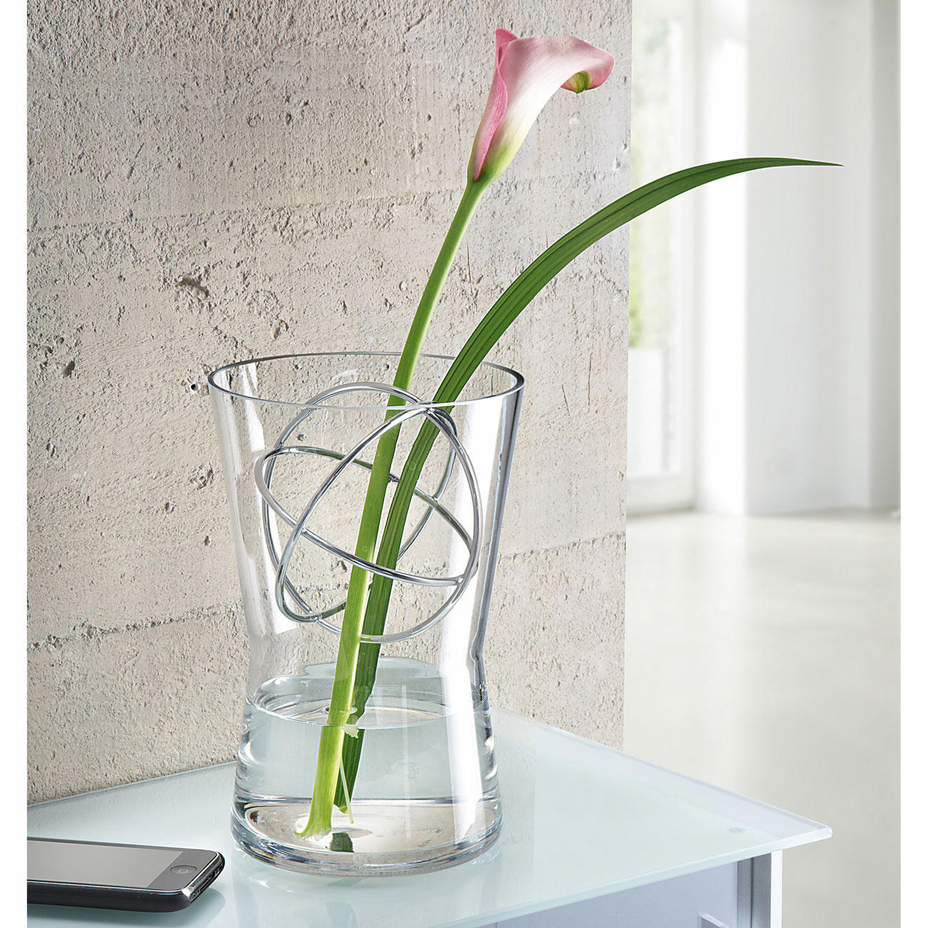 Buy glass vase with decor sphere online for Glass home decor