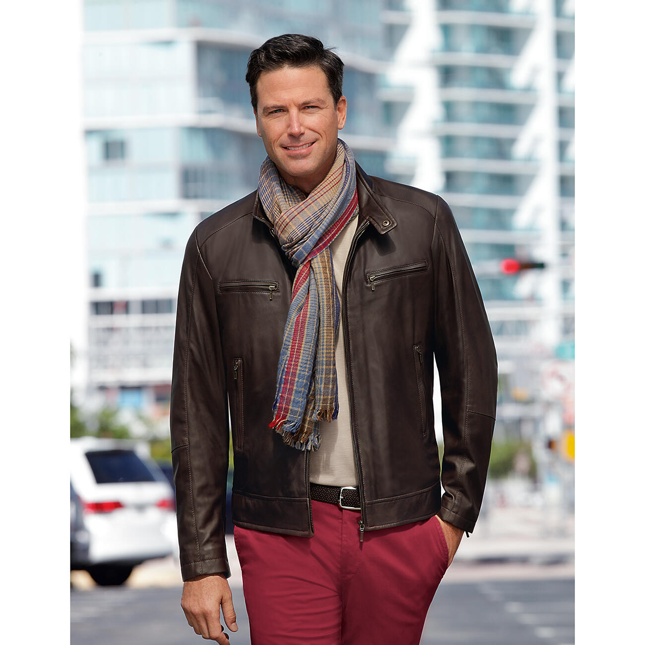 Buy 28 oz reindeer leather jacket online for Polo shirt with sport coat