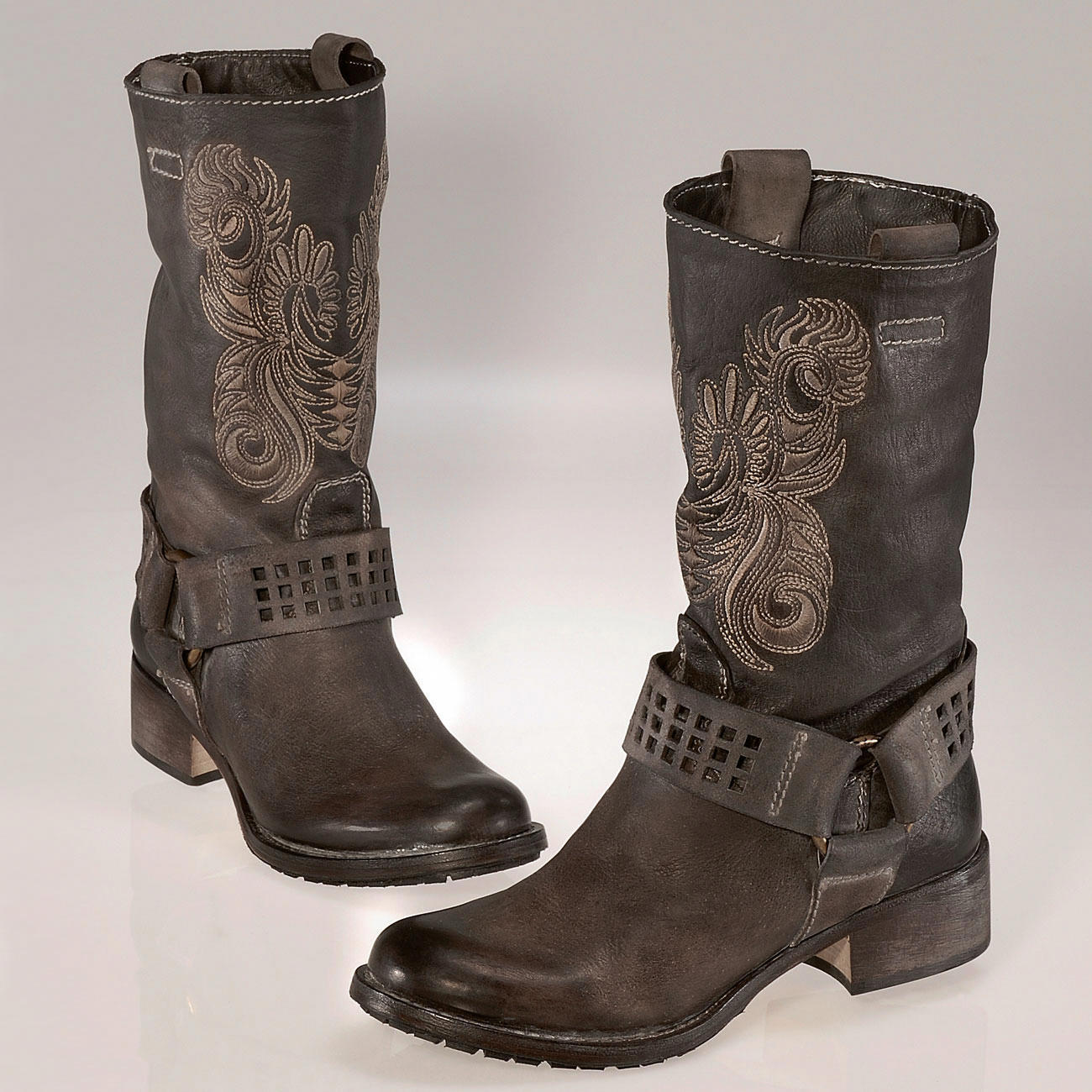buy embroidered biker boots 3 year product guarantee. Black Bedroom Furniture Sets. Home Design Ideas