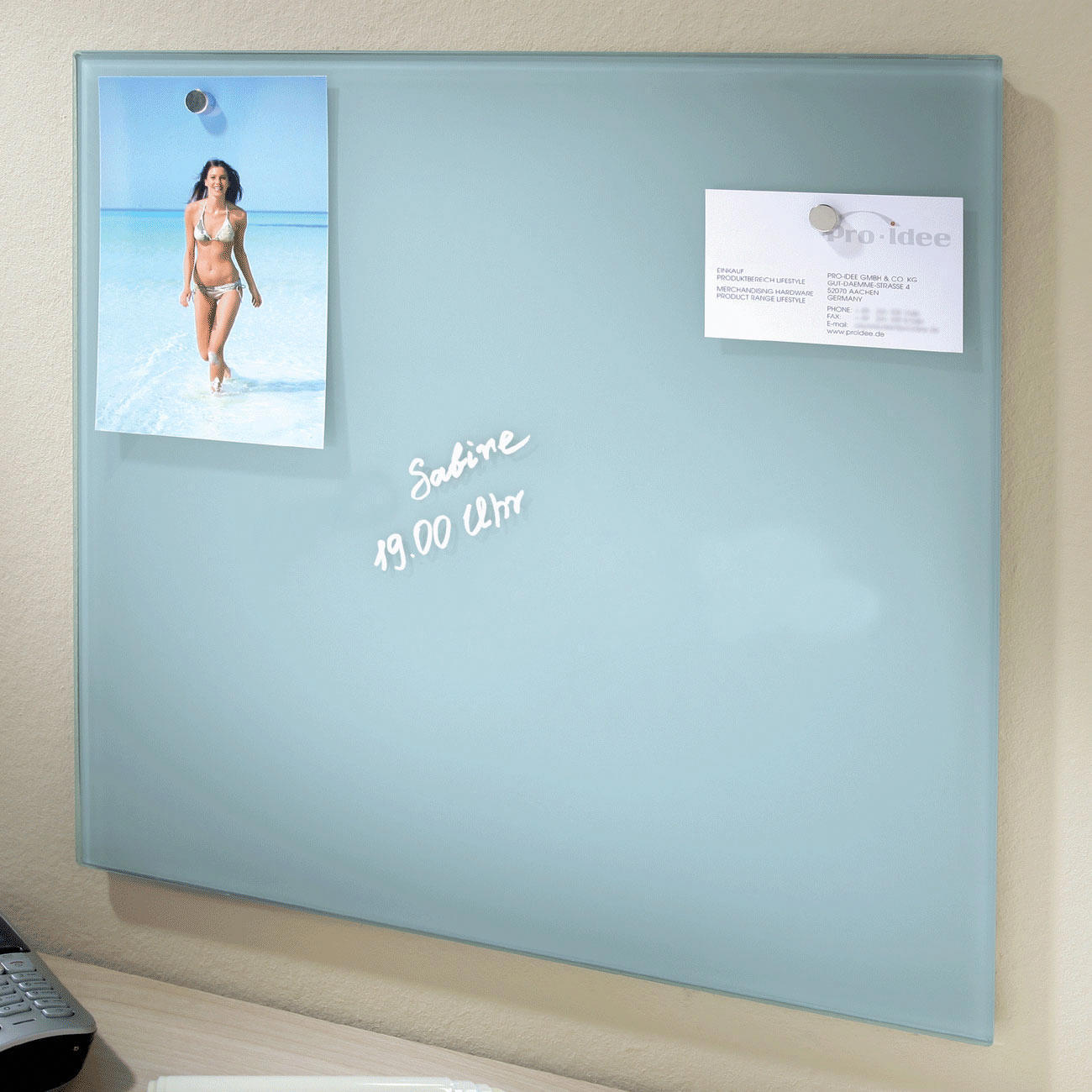Black Glass Magnetic Notice Board