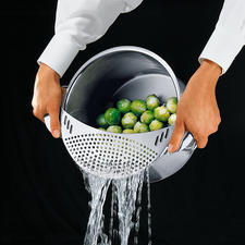 Vegetable Strainer - No scalded fingers. The food stays safely in the pot.
