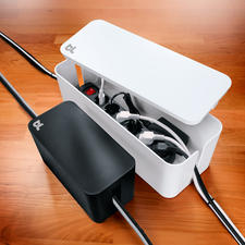"""CableBox™ Compact or CableBox™ - The """"CableBox™"""" makes ugly multisockets disappear. In 2 sizes and 2 colours."""