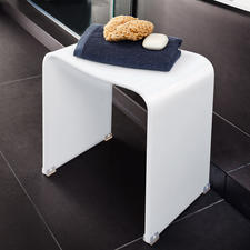 Acrylic Shower Stool - Elegant acrylic design. Sturdy, 100% waterproof, comfortable ergonomic shape. For indoors & out.