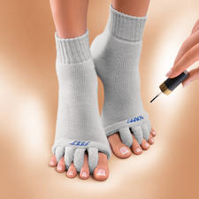 """Happy Feet"" Relaxation Socks - Relaxation for sore feet from high heels. US-patented socks to relax your toes."