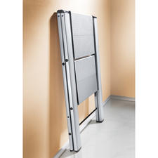 """The """"double"""" step ladder folds down to a mere 50 x 79 x 4cm (19.7"""" x 31"""" x 1.6""""), the """"triple"""" step version to 50 x 106 x 4cm (19.7"""" x 41.7"""" x 1.6"""") (W x H x D)."""