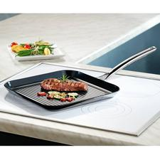 Vulcano Ceramic Grill Pan - With scratch-proof coating. Heat-resistant up to 400°C and suitable for induction hobs.