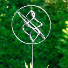 Stainless Steel Wind Spinner - Superbly hand made. A focal point for your garden, terrace or balcony. Height adjustable.