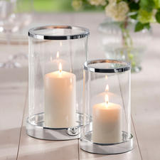 Silver-Plated Lantern, incl. candle - Brilliant crystal glass in a classic cylinder shape. Base and edge luxuriously adorned with silver plating.