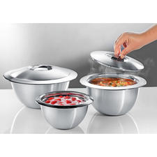 Stainless Steel Thermo Bowls with lid - Double walled stainless steel keeps your food hot or cold for longer. Pleasantly affordable.