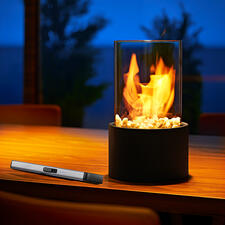 Decorative Tabletop Fireplace - The fascinating spectacle of real flames – safely behind glass.