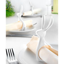 "Napkin Rings ""Hare"", Set of 6 - Practical napkin ring, elegant table ornament and modern Easter decoration."