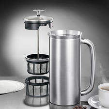 Double microfilter system for pure coffee enjoyment.