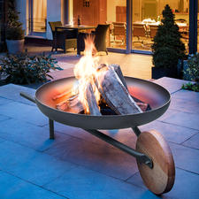 "Fire Bowl with Grill Function ""Barrow"" - Gorgeous firepit in wheelbarrow design. Made of sheet steel, oak and rustproof V2A stainless steel."