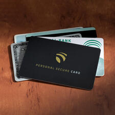 "RFID Secure Card - Even at a distance of 3cm (1.2""), nobody can read your personal data."