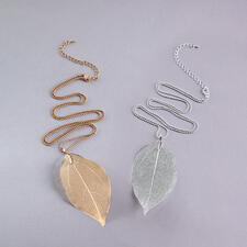 Bodhi Leaf Necklace - Designed by nature: The leaf of the bodhi tree. Gold- or silver-plated. Each necklace is unique.