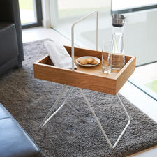 "Tray Table Emil - Trendy retro design, awarded ""FORM 2017"". Made of precious oak and aluminium."