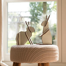 Wooden Hare Duo - Stylish. Decorative. And put together in a jiffy.