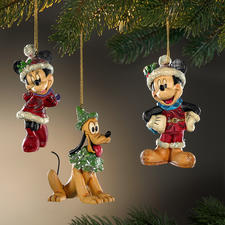 Disney Traditional Christmas Figurines - Christmas with Mickey, Minnie and Pluto.
