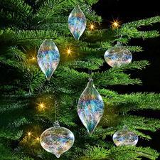 Iridescent Glass Fibre Tree Ornament, Set of 6 - Tree ornament with glass filament filling and rainbow shimmer.