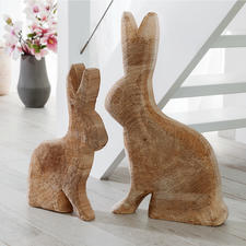 Wooden Poplar Rabbit - Made by hand – with pithy surface and visible growth rings. Always unique.