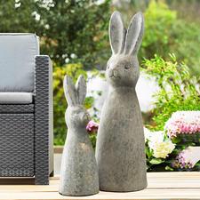 Rabbit statue - Artfully abstracted. XL figurine. Sturdy stone look, 100% weatherproof.