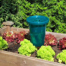 Fills up when it rains, openings in the lid let rainwater easily flow into the container.