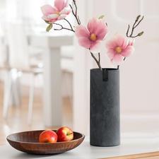 The slim vase is also ideal for long-stemmed flowers.