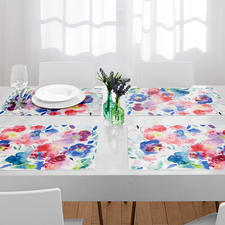 Watercolour Placemats, Set of 6 - Placemats with trendy floral motifs. Lastingly beautiful and robust, a friend for every day.