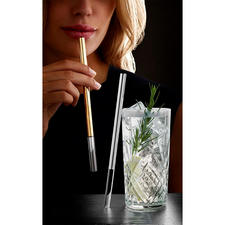 Luxurious Glass Drinking Straws - A luxurious alternative to drinking straws: Stylishly finished with platinum or gold.
