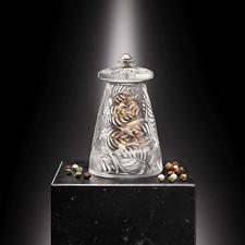 Lalique Pepper Or Salt Mill - Finest French glass art. With precision grinder by Peugeot.