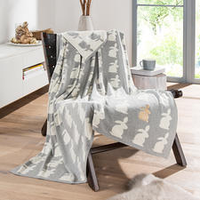 Hare Blanket with Metallic Hare - Elaborately crafted double-layered knit, with a subtle humorous touch.