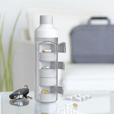 Drinking Bottle With Tablet Compartment - Tablets always with you – and the water for taking them with ready to hand.