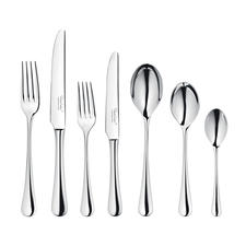 42-piece set contains: 6 forks, 6 knives, 6 starter forks, 6 starter knives, 6 tablespoons, 6 dessert spoons, and 6 teaspoons.