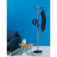 Coat Stand - Elegant oak and black metal design. And a true space-saving miracle.