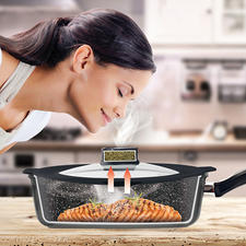 "Smell Well Pan/Pot Lid - Probably the smallest ""cooker hood"" in the world. The ingenious STONELINE® Smell Well lid captures unpleasant cooking and roasting smells."