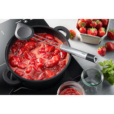 Silicone Cooking Spoon 2-in-1 - Elegant stainless steel design with silicone flap that is gentle on surfaces.