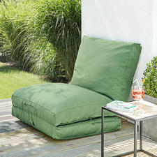 Simply fold up one compartment and lean against a wall or balcony parapet and there you have a comfortable chair.