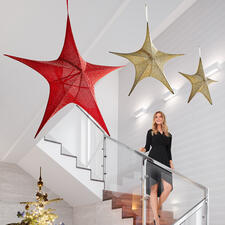XXL Fabric Star - Hugely effective: Elegant fabric-covered glitter star in XXL size.