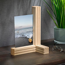 Vario Picture/Card Holder - 3 wooden strips. 12 fine columns. Countless possibilities to arrange photos and more.