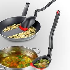 Simply turn the handle – and the cooking spoon becomes a ladle.