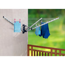Folding Wall-mounted Rotary Clothes Dryer - 18-metre (59 ft) clothesline – just one metre (3 ft) when stored away.