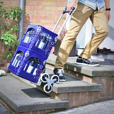 Folding Stair Climbing Cart - Traverses steps and obstacles almost by itself. Folds to a compact size for easy storage.