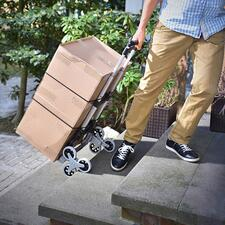 """The smart three-wheel chassis allows the cart to """"walk"""" effortlessly up and down stairs."""