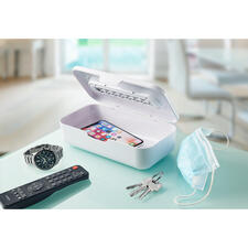 2-in-1 UV-C Sterilizer - Ingeniously versatile: UV-C box and stick in one. Eliminates bacteria and viruses. At home and while you're out and about.