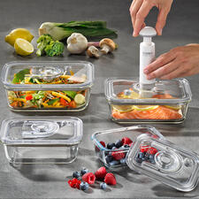 Glass Vacuum Containers, Set of 4 - Keep your food fresh up to 8 times longer. Freezer, oven and microwave proof and remain hygienic for life.