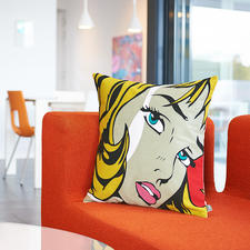 Pop Art Cushion Cover Fame - The brightly coloured, iconic motif is created using a precise single-thread chain stitch technique.