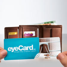 Tucked away in its practical plastic case you'll always have the eyeCard® with you.