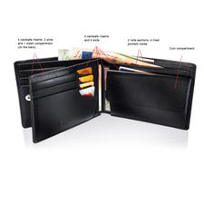 Patented Leather Wallet - The leather wallet with a patented security system for your credit cards.