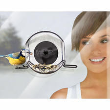 Bird Feeder, Set of 2 - Watch birds close up. Sticks to your window pane with a suction pad. Frost-resistant.
